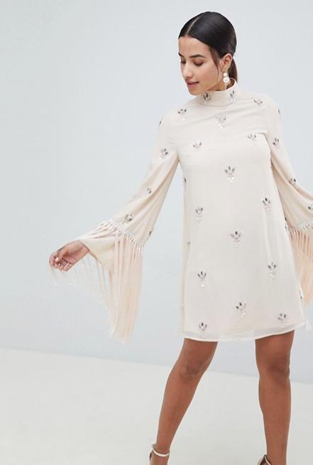 Screenshot-2018-3-20 ASOS DESIGN Embellished Shift Mini Dress With Fringed Sleeves at asos com