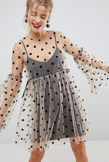 Screenshot-2018-3-20 ASOS Sheer Smock Mini Dress in Spot Mesh at asos com